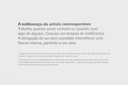 A indiferença do artista contemporâneo, 2017
